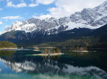 Islands On Eibsee , Zugspitze. Stock Photos