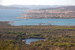Islands of Sardinia's north. Landscape seen from the island of Caprera to the island of the Maddalena Stock Photography