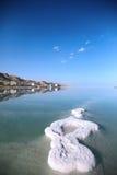 Islands of sea salt. Dead Sea landscape pretty clean in the summer day Stock Photos