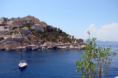 Islands of the southern part of Greece Poros, Hydra, Aegina 06. 15. 2014. The landscape of the Greek islands of hot summer. View of the seae Greek town in the Stock Image