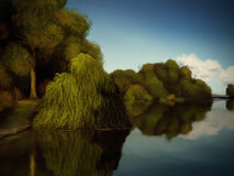 Islands Of Trees - Digital Painting Royalty Free Stock Photo