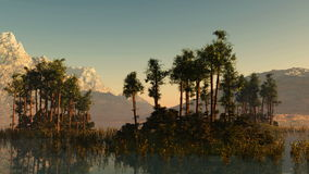 Islands with trees at mountain lake. Islands with trees at mountain  lake stock video footage