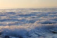 Islandskapbakgrund abstrakt istextur Ungern Balaton sjö Royaltyfria Bilder