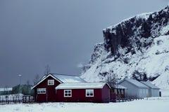 Islandzcy domy w zimie zdjęcia stock
