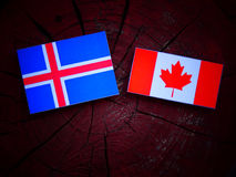 Islandzka flaga z kanadyjczyk flaga na drzewnym fiszorku odizolowywającym obraz stock