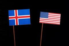 Islandzka flaga z usa flaga na czerni obraz royalty free