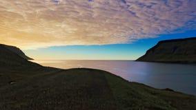 Islandzki krajobraz - zmierzch Zdjęcia Stock