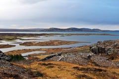 Islandzkie góry i morze Fotografia Stock