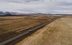 Islandzkie panoramy, widok z lotu ptaka na ziemiach obraz stock