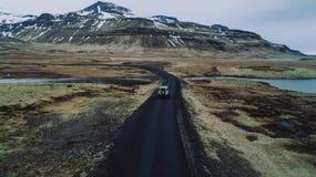 Islandzkie panoramy, widok z lotu ptaka na ziemiach fotografia royalty free