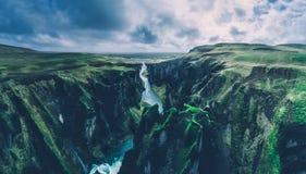 Islandzkie panoramy, widok z lotu ptaka na ziemiach zdjęcie stock