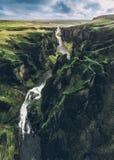 Islandzkie panoramy, widok z lotu ptaka na ziemiach obrazy royalty free