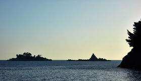 Islans in backlight. From Lucice beach near Petrovac town, Montenegro Stock Image