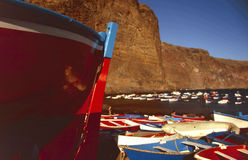 Islas Canarias Fishing boat. Gorgeous fishing boat in the small harbour of Vueltas in the south of Gomera stock photography