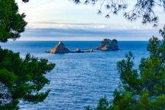 Islas cerca de Petrovac Fotografía de archivo