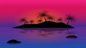 Islas con el árbol de coco en el mar; puesta del sol con backgro de las islas Imagenes de archivo