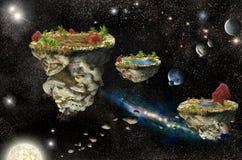 Islas de la fantasía en espacio Foto de archivo libre de regalías