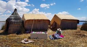 Islas de los Uros, lago Titicaca, Peru imagens de stock