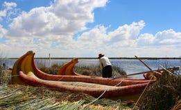 Islas de los Uros, lago Titicaca, Peru fotografia de stock