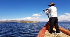 Islas de los Uros, sjö Titicaca, Peru royaltyfria bilder