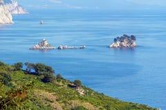 Islas en la costa de Montenegro Foto de archivo libre de regalías