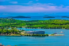 Islas en Sibenik Riviera, Croacia fotografía de archivo