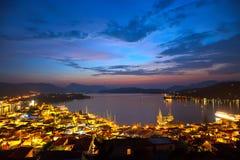 Islas griegas en la noche Imágenes de archivo libres de regalías
