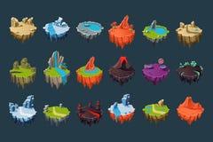 Islas isométricas de la historieta con los volcanes, los lagos, las cascadas, los glaciares, los cráteres, los cristales y las ro stock de ilustración