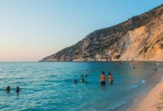 Islas jónicas de la playa de Myrtos Foto de archivo