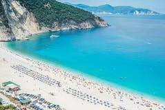 Islas jónicas de la playa de Myrtos Fotos de archivo