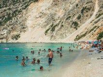 Islas jónicas de la playa de Myrtos Imagen de archivo