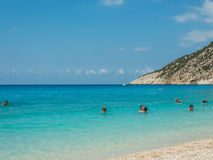 Islas jónicas de la playa de Myrtos Fotografía de archivo