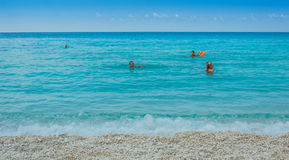 Islas jónicas de la playa de Myrtos Foto de archivo libre de regalías