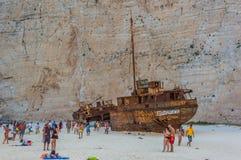 Islas jónicas de Zakynthos de la playa de Navagio Imagenes de archivo