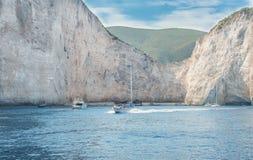 Islas jónicas de Zakynthos de la playa de Navagio Imágenes de archivo libres de regalías