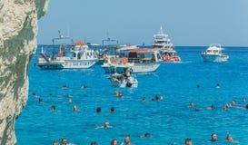 Islas jónicas de Zakynthos de la playa de Navagio Fotografía de archivo libre de regalías