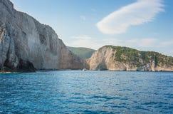 Islas jónicas de Zakynthos de la playa de Navagio Fotografía de archivo