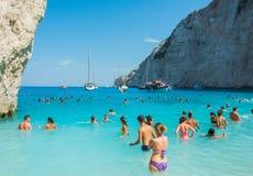 Islas jónicas de Zakynthos de la playa de Navagio Foto de archivo libre de regalías