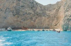 Islas jónicas de Zakynthos de la playa de Navagio Imagen de archivo libre de regalías