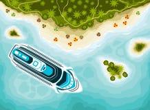 Islas tropicales visión superior y barco de cruceros ilustración del vector