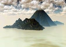 Islas volcánicas rodeadas por el mar Foto de archivo libre de regalías