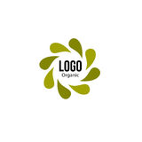 Islated abstract green color spining leaves circle logo. Flower petals logotype. Natural recycling icon. Circulation Royalty Free Stock Photos