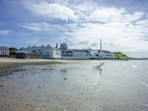 Islay, Schotland - Juni 2, 2014: Wisky die in de huizen van Bowmore opslaan Stock Afbeeldingen