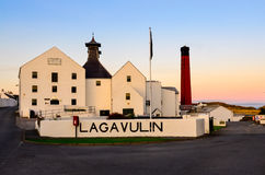 ISLAY, UNITED KINGDOM - 25 August 2013: Lagavulin distillery factory. After sunset, Islay, United Kingdom Royalty Free Stock Image