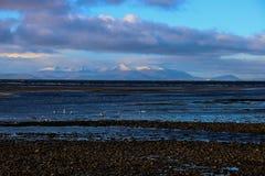 Isle of Arran from Ayr beach Scotland. View of the Isle of Arran from Ayr beach Scotland Royalty Free Stock Photos