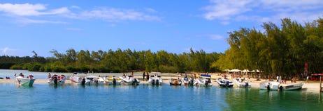 Isle aux cerfs island. People enjoying at  isle aux cerfs island of mauritius Stock Photo