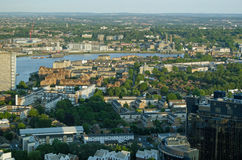 Isle of Dogs, Thames and Greenwich, Aerial view. View from the Isle of Dogs looking across the River Thames towards Greenwich, London Stock Photography