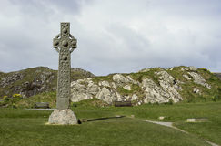 Isle of Iona early Celtic cross Stock Photos