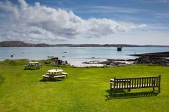 Isle of Iona Scotland uk Scottish island beautiful beach and view to Mull with ferry Stock Images