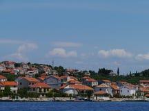 The isle Kaprije in the Mediterranean. Houses in the village Kaprije on the Croatian island in Croatia in the Mediterranean royalty free stock photos
